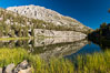 Panorama of Box Lake, morning, Little Lakes Valley, John Muir Wilderness, Inyo National Forest. Little Lakes Valley, Inyo National Forest, California, USA. Image #31177