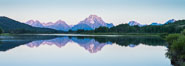 Mount Moran at sunrise from Oxbow Bend, Grand Teton National Park. Image #32317