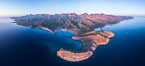 San Evaristo at dawn, panoramic view, a small fishing town, aerial photo, Sea of Cortez, Baja California. Mexico. Image #33487