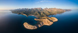 San Evaristo at dawn, panoramic view, a small fishing town, aerial photo, Sea of Cortez, Baja California. Mexico. Image #33490
