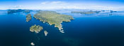 Balaklava Island and Browning Pass, location of the best cold water diving in the world, aerial photo. British Columbia, Canada. Image #34485