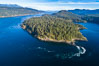 Seymour Narrows with strong tidal currents.  Between Vancouver Island and Quadra Island, Seymour Narrows is about 750 meters wide and has currents reaching 15 knots.  Aerial photo. British Columbia, Canada. Image #34492