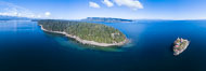 Chrome Island (foreground) and Denman Island, Hornby Island in the distance. British Columbia, Canada. Image #34494
