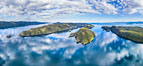 Browning Pass aerial photo, with Nigei Island (left) and Balackava Island (right). British Columbia, Canada. Image #35252