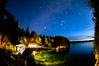 Stars at night over Hurst Island, Gods Pocket Resort. British Columbia, Canada. Image #35272
