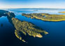 Browning Pass aerial photo, with Nigei Island (left) and Balackava Island (right). British Columbia, Canada. Image #35330