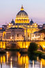 Saint Peter's Basilica over the Tiber River, Vatican City. Rome, Italy. Image #35547