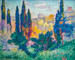 Les cypr�s � Cagnes by Henri Edmond Cross, Musee d'Orsay, Paris. Musee dOrsay, France. Image #35618