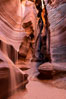 Canyon X, a spectacular slot canyon near Page, Arizona.  Slot canyons are formed when water and wind erode a cut through a (usually sandstone) mesa, producing a very narrow passage that may be as slim as a few feet and a hundred feet or more in height. Page, Arizona, USA. Image #36009