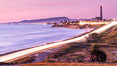 Sunset on Terra Mar and the Carlsbad coastline, looking north to Oceanside, Camp Pendleton and San Onofre. Image #36117