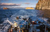 Motoring, south end of Guadalupe Island, Isla Afuera (left) and Isla Adentro (right) in distance. Guadalupe Island (Isla Guadalupe), Baja California, Mexico. Image #36230