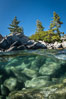 Trees and rocks in Lake Tahoe, Sand Harbor State Park. Nevada, USA. Image #36413