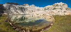 Mount Conness and North Peak over middle Conness Lake, Hoover Wilderness. Conness Lakes Basin, California, USA. Image #36426