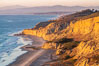 Torrey Pines sea cliffs at sunset, Flat Rock at low tide, looking north. Blacks Beach, La Jolla, California, USA. Image #36556