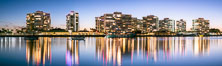 Coronado Shores condos reflected in Glorietta Bay, San Diego Bay, evening. Image #36620