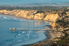 La Jolla Shores Coastline and Scripps Pier, Blacks Beach and Torrey Pines, aerial photo, sunset. California, USA. Image #36669