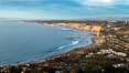 La Jolla Shores Coastline and Scripps Pier, Blacks Beach and Torrey Pines, aerial photo, sunset. California, USA. Image #36670