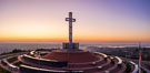 Sunrise over The Mount Soledad Cross, a landmark in La Jolla, California. The Mount Soledad Cross is a 29-foot-tall cross erected in 1954. USA. Image #36689