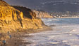 Torrey Pines State Beach at Sunset, La Jolla, Mount Soledad and Blacks Beach in the distance. Torrey Pines State Reserve, San Diego, California, USA. Image #36741