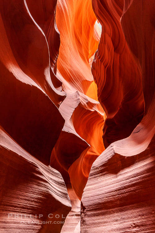 Antelope Canyon, a deep narrow slot canyon formed by water and wind erosion.