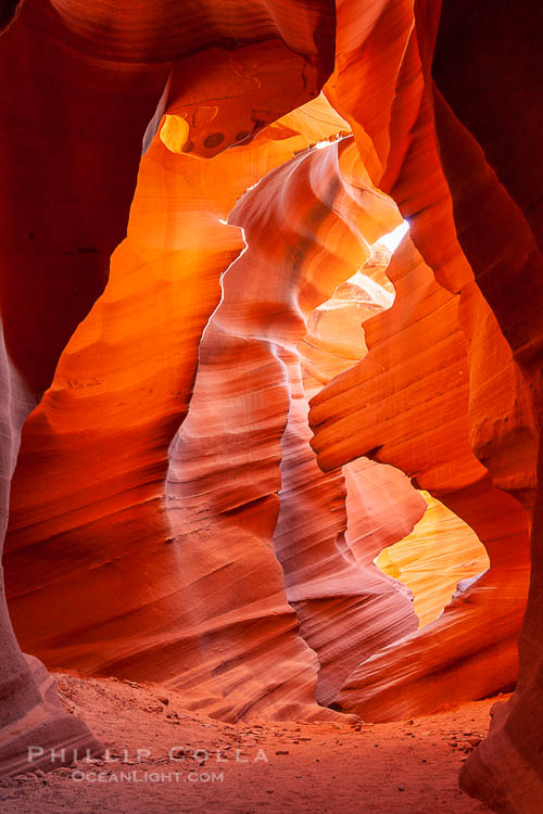 Lower Antelope Canyon, a deep, narrow and spectacular slot canyon lying on Navajo Tribal lands near Page, Arizona.