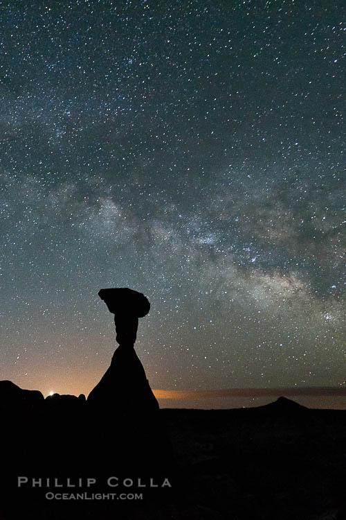 The Milky Way rises in the sky above the Toadstool Hoodoos near the Paria Rimrocks.  Rimrock Hoodoos.