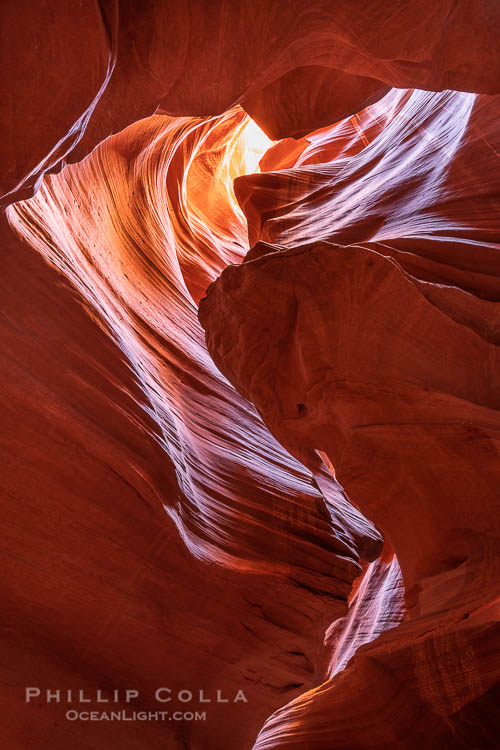 Upper Antelope Canyon, a deep, narrow and spectacular slot canyon lying on Navajo Tribal lands near Page, Arizona