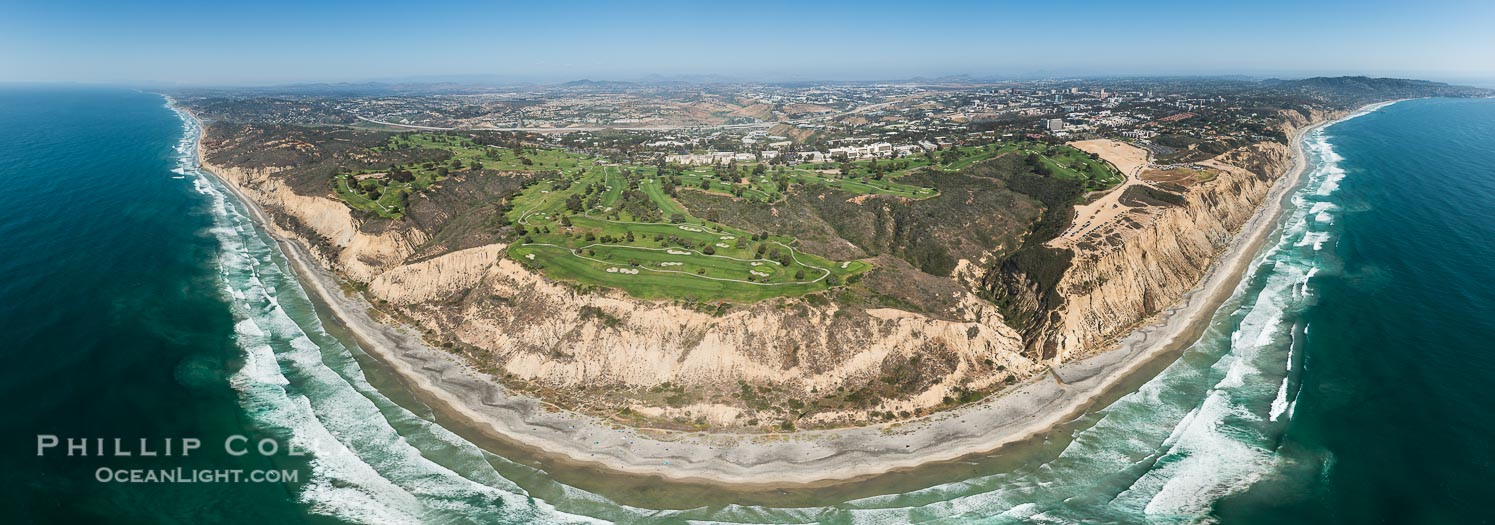 Aerial Panoramic Photo of Torrey Pines Golf Course and Black's Beach