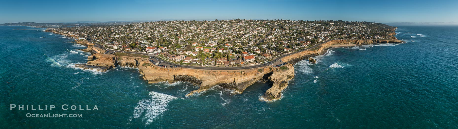 Aerial Panoramic Photo of Sunset Cliffs, San Diego, California