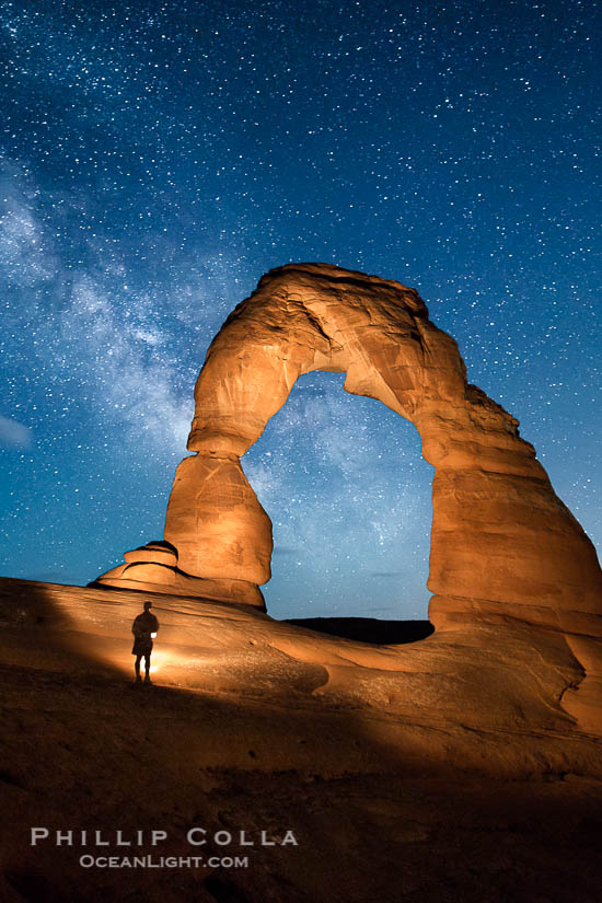 Photo of Delicate Arch and Milky Way, Hiker, Light Painting