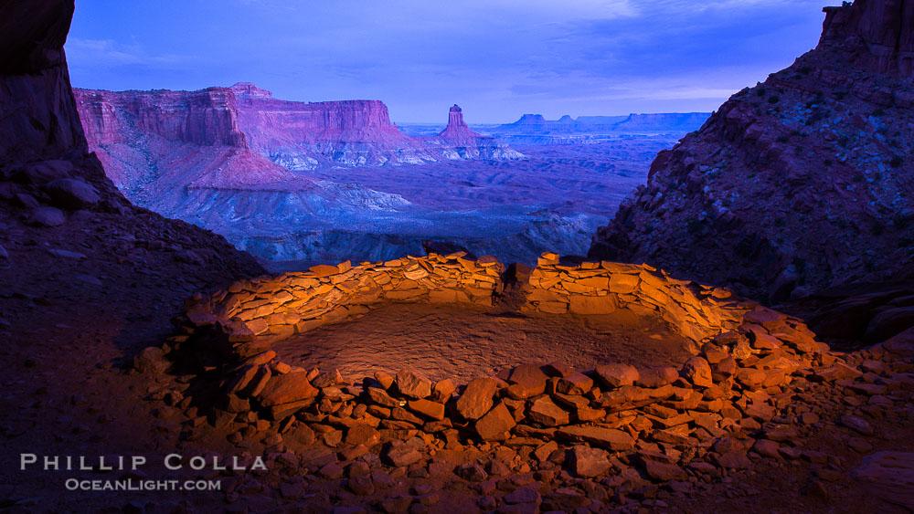 False Kiva at Sunset, Canyonlands National Park, Utah