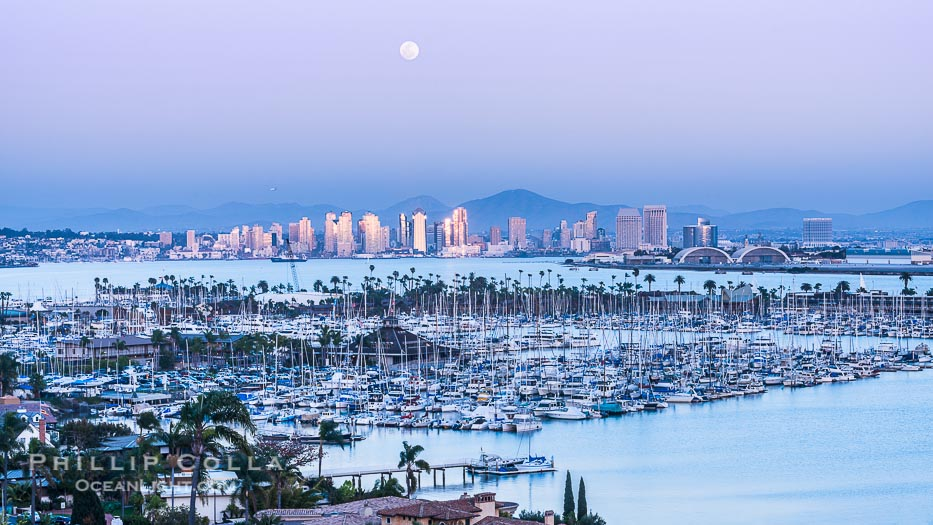 Full Moon Rising over Downtown San Diego, Sunset