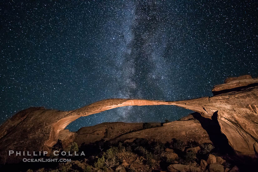 Landscape Arch and Milky Way at Night, Arches National Park, Utah