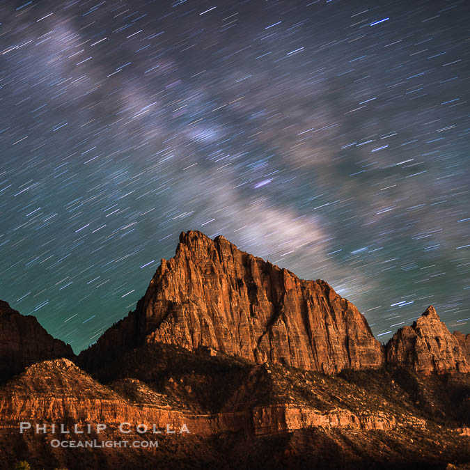 Milky Way and Star Trails Over the Watchman, Zion National Park