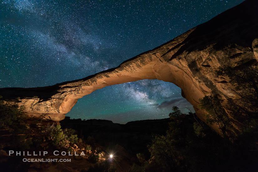 Owachomo Bridge and Milky Way at Night, Natural Bridges National Monument, Utah
