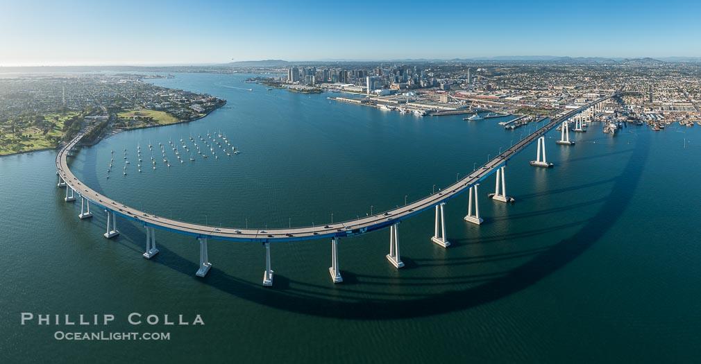 Aerial Panorama of the San Diego Coronado Bay Bridge