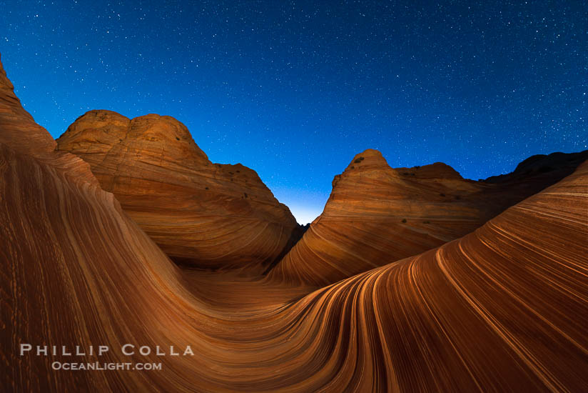 The Wave Under Stars at Night, North Coyote Buttes, Paria Canyon-Vermilion Cliffs Wilderness