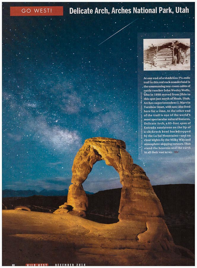 Wild West Magazine – Shooting Star and Milky Way over Delicate Arch