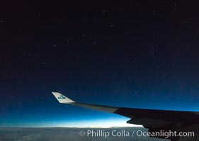 Ursa Major, the big dipper, viewed at night over Iceland on KLM plane flight