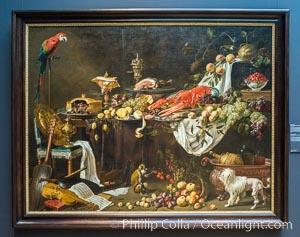 Banquet Still Life, Adriaen van Utrecht, 1644, canvas, h 185cm x w 242.5cm, Rijksmuseum, Amsterdam, Holland, Netherlands