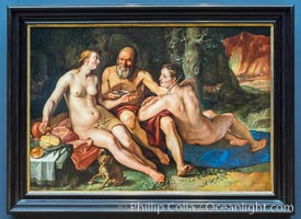 Lot and his Daughters, Hendrick Goltzius, 1616, canvas, h 140cm x w 204cm. Rijksmuseum, Amsterdam, Holland, Netherlands, natural history stock photograph, photo id 29467