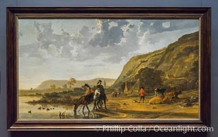 River Landscape with Riders, Aelbert Cuyp, 1653 - 1657. Oil on canvas, h 128cm x w 227.5cm, Rijksmuseum, Amsterdam, Holland, Netherlands