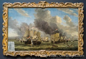 The Battle of Livorno, Reinier Nooms, 1653 - 1664. Oil on canvas, h 142cm � w 225cm, Rijksmuseum, Amsterdam, Holland, Netherlands