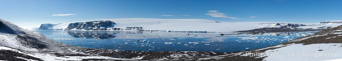 Adelie penguin colony, panoramic photograph, Devil Island