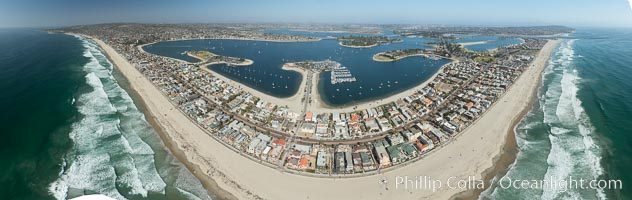 Aerial Panorama of Pacific Beach, Mission Beach and Mission Bay, San Diego, California