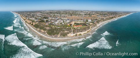 Aerial Panorama Photo of Swamis and Encinitas Coastline. Swamis reef and Self Realization Fellowship