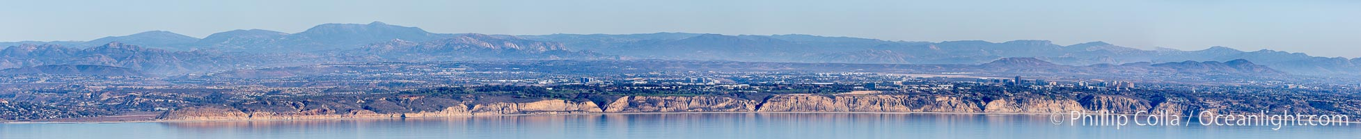 Aerial panorama of Torrey Pines State Reserve, from Del Mar (left) to La Jolla (right), San Diego, California
