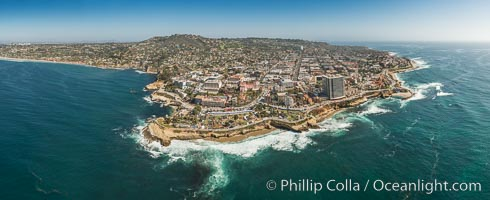 Aerial Panoramic Photo of La Jolla Cove and Scripps Park, Mount Soledad and Downtown La Jolla