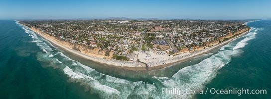 Aerial Panoramic Photo of Moonlight Beach and Encinitas