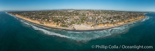 Aerial Panoramic Photo of Moonlight Beach and Encinitas Coastline